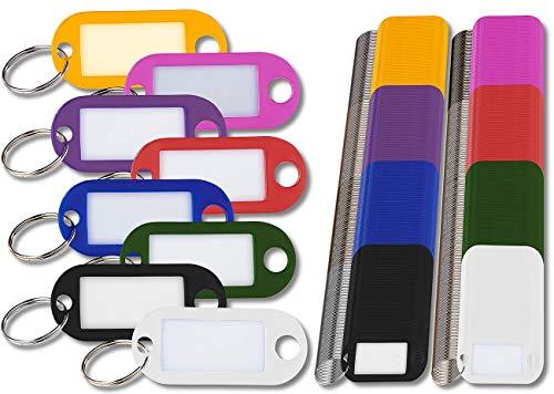 PEARL Kofferanhänger: 480 Schlüsselschilder mit Schlüsselringen, zum Beschriften, 8 Farben (Schlüsselanhänger zum Beschriften)