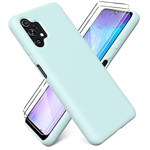 Ikziwreo - Funda para Samsung Galaxy A32 4G 6.4' + [2 Pack] Protector Pantalla, Carcasa de Silicona Líquida Gel Ultra Suave Funda con tapete de Microfibra Anti-Rasguño - Verde Claro