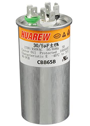 HUAREW 30+5 uF ±6% 30/5 MFD 370/450 VAC CBB65 Dual Run Start Round Capacitor for Condenser Straight Cool or Heat Pump Air Conditioner or AC Motor and Fan Starting