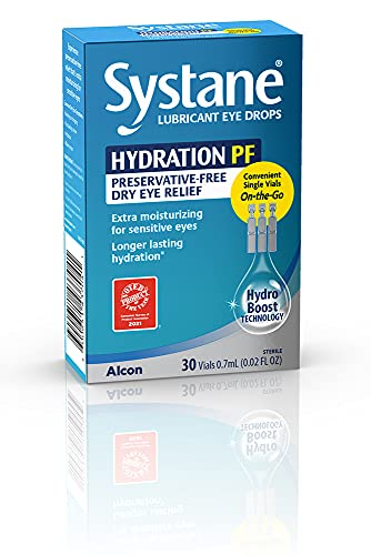 ALCON Systane Hydration Preservative-Free Lubricant Eye Drops, Transparent, 0.02 Fl Oz - 30 Count...