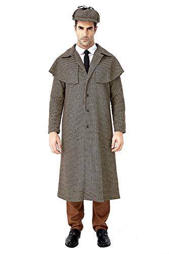 Huiyemy Sherlock Holmes Kostüm für Erwachsene,Detektiv Kostüm Herren Detektivkostüm Dedektivkostüm Mantel + Detektiv-Mütze XL