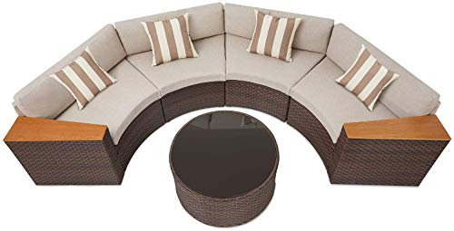 Skiway 5-Piece Half Moon Outdoor Furniture Sofa,All-Weather Brown Wicker Conversation Sets with Beige Cushions& Sophisticated Glass Coffee Table