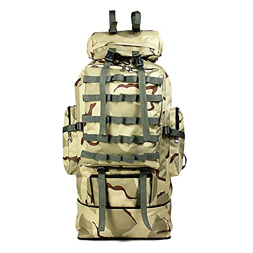 NEW 100L Outdoor Camping Bag Military Backpack Tactical Hiking Trekking Rucksack - Desert Camouflage