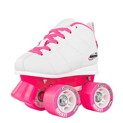 Crazy Skates Rocket Roller Skates for Girls and Boys - Great Beginner Kids Quad Skates - White and Pink Patines (Size 7)