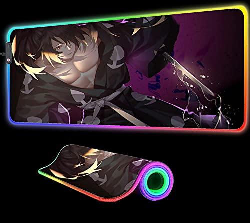 Dororo Anime Alfombrilla de Ratón Ordenador Juegos Alfombrilla GranRGB Jugador Alfombra XXL Alfombrilla GranAlfombrilla Escritorio Pc Retroiluminación 24 Pulgadas X 12 Pulgadas