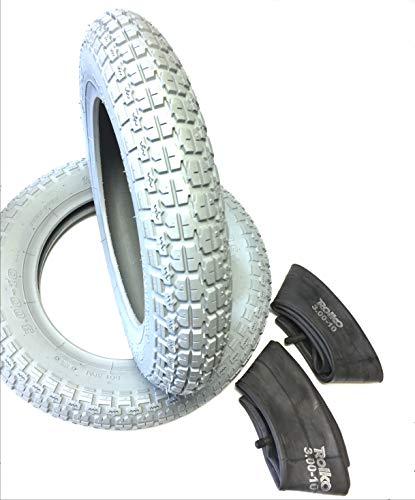 Ro Pneu de Fauteuil Roulant 2 pièces 3.00-10 Gris + 2 tuyaux, pneus Profil bloqué, Stable 4PR avec Charge de 150 kg par pneus, Fauteuil Roulant pour Scooter, Fauteuil Roulant électrique de qualité