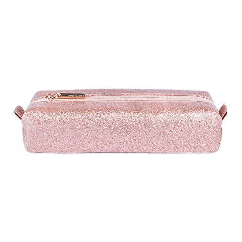 Comfyable Small Cosmetic Bag for Purse Pencil Case Rectangular Makeup Bag Waterproof Glitter Cute Toiletry Pouch Rose Gold Sparkly Pink