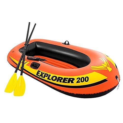 ZMMYD Bote Inflable de 2 Personas Resistente de PVC Grueso con 2 remos y Bomba Manual Kayak Pesca a la Deriva Juego de Barco de Buceo,Naranja
