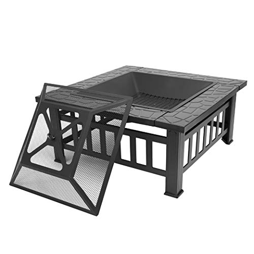 Portable Courtyard Metal Fire Bowl with Accessories Black Quality Fire Pits for Outside/Back Yard/Camping/Porch/Deck/Patio