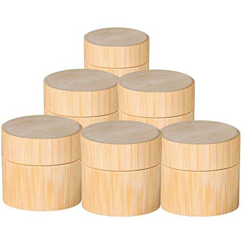 Beauneo Caja VacíA de Almacenamiento de Maquillaje Resistente una Roturas Botella de Viaje de Bambú Envase de Tarro CosméTico Sub Botella 50G