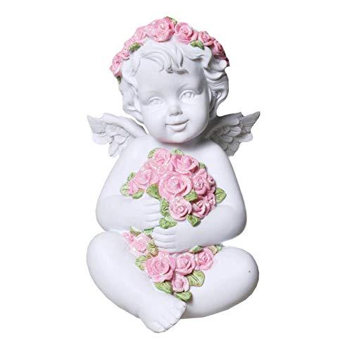 Trauer-Shop Engel Figur Dekoration, Blumenkranz und Rosen. Höhe 14,5 cm. 1 Stück