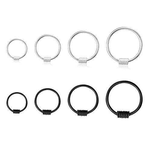 Flechazo 20G Nose Rings Hoop Earrings Small Thin 925 Sterling Silver Helix Tragus Piercing Ear 6-12mm