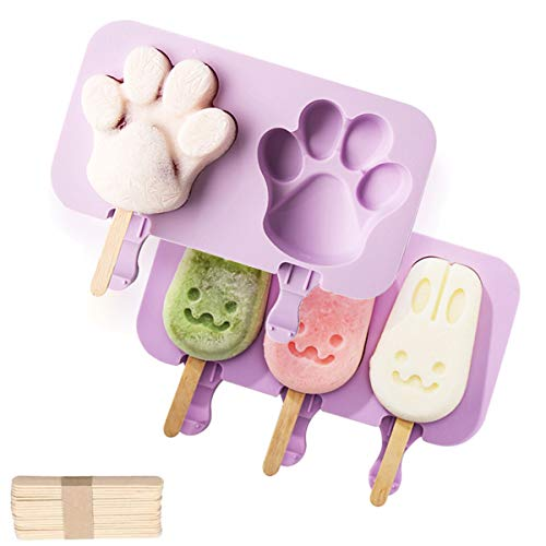 NICROLANDEE Homemade Popsicle DIY Set - BPA Free Silicone Reusable Easy Release Ice Cream Makers With 100 Wooden Sticks for Children DIY, Homemade Ice Cream Bar, Set Of 2