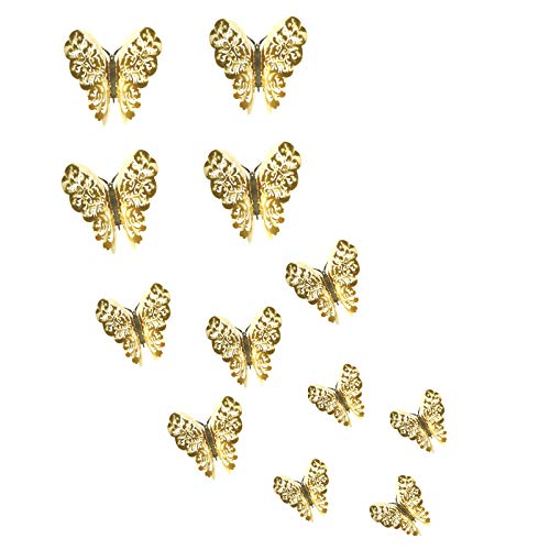 3D Hollow-Carved Butterfly Wall Stickers, 12 PCS Multicolor 3 Sizes Butterfly Wall Stickers DIY Art Decor Wall Decals for Rooms Party Weeding Decoration