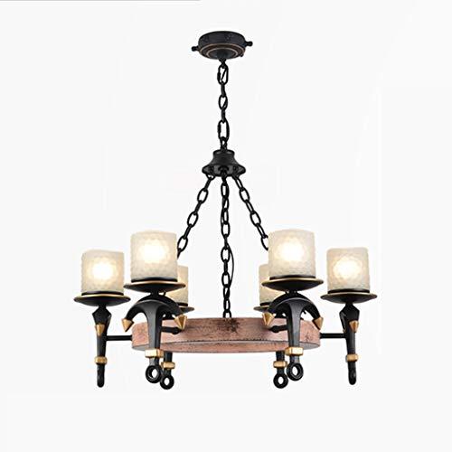 Chandelier-WXP Runder Kronleuchter, schmiedeeiserne Lampe mit 8 Schlafzimmern, dekoratives LED-Glaslicht 603-DD (Size : B-73cm)