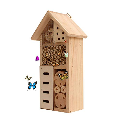 LOUJ Wooden Insect Hotel - Insect House Natural Wood Insect Home Nesting Habitat for Outdoor Garden Yard Bee Butterfly Ladybugs