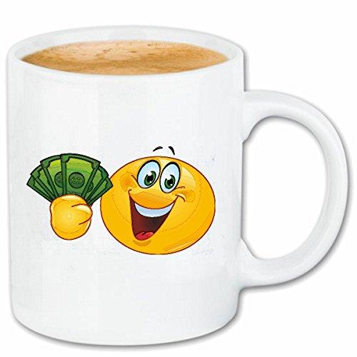 Reifen-Markt Kaffeetasse REICHER Smiley MIT GELDSCHEINEN Smileys Smilies Android iPhone Emoticons IOS GRINSEGESICHT Emoticon APP Keramik 330 ml in Weiß