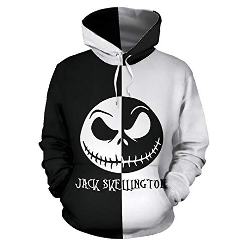 JLDJWSJD Jack Skellington Hombres Sudadera con Capucha Primavera Invierno Adolescentes Camiseta de Pesadilla Antes de Navidad con Capucha S