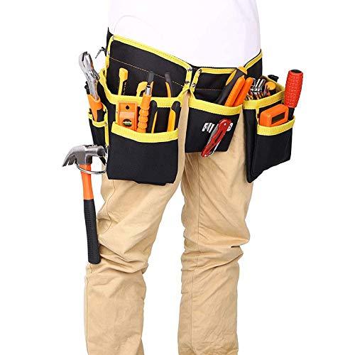 Grembiule porta attrezzi con 11 tasche per attrezzi, tessuto Oxford impermeabile professionale, con cintura regolabile, per elettricisti, falegnami, muratori fai da te.