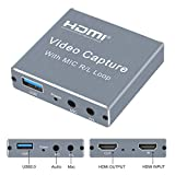 Capture Card, 4K HDMI Capture Card for Xbox with Audio Video, 1080P 60FPS HD Gaming Capture Card with Pass Through for OBS Recording/Live Streaming, Work with Xbox/PS4/Nintendo Switch/DSLR/Camera/OBS