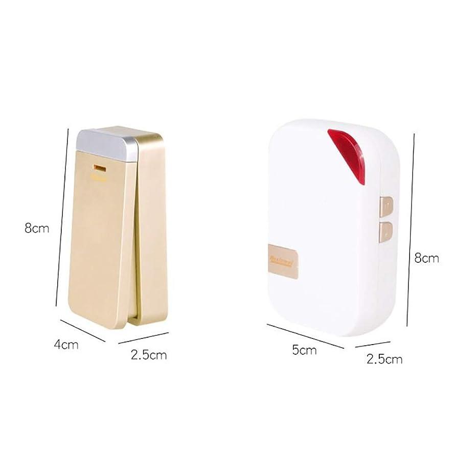 ゴールド値債務WYMLKUD セルフパワーワイヤレスドアベル 防水 コードレスドアベルキット 80mの送信範囲 (色 : 白)