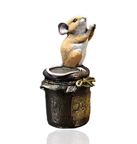 Cold Cast Bronze Mouse on Jam Jar - Michael Simpson