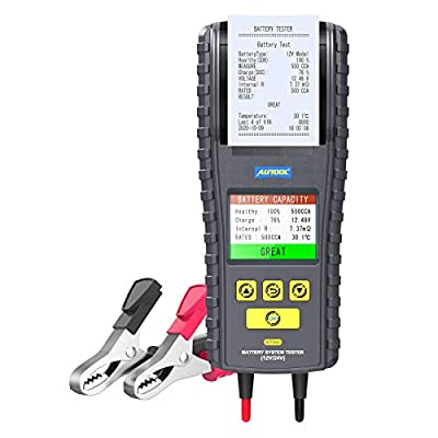 AUTOOL Car Battery Tester BT860 12V/24V 100-2000 CCA Auto Battery Analyzer Cranking Charging System Diagnostic Tool with Built-in Thermal Printer and Real-time Temperature Monitoring for All Vehicle from AUTOOL