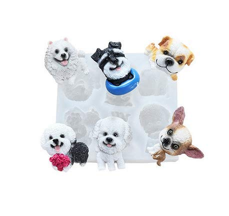 UgyDuky 6-Cavity Dog Silicone Mold for Fondant Chocolate Candy Gum Paste Polymer Clay Resin Kitchen Baking Sugar Craft Cake Cupcake Decorating Tools (6 different dogs)