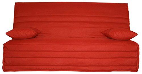 CANAPES TISSUS Anthemis Banquette Canapé-Lit, Tissu, Rouge, 190 x 95 x 98 cm