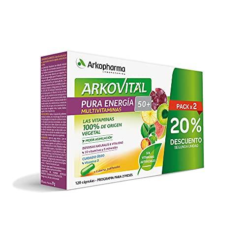 Arkopharma Arkovital Pura Energía Senior 50+ 120 Comprimidos | Mayores de 50 Años |Multivitamínico Para La Fatiga Y Menopausia | Déficit Vitamina D