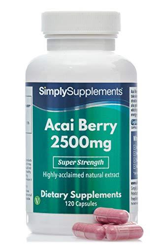 Bacche di Acai 2500 mg - 120 capsule - 2 mesi di trattamento - Adatto ai vegani - SimplySupplements