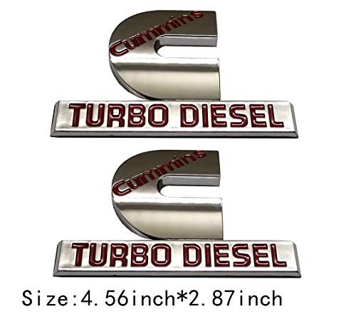 2pcs (small size) Cummins Turbo Diesel Emblem Badge High Output Replacement for RAM 2500 3500 Fender Emblem Glossy Chrome Red