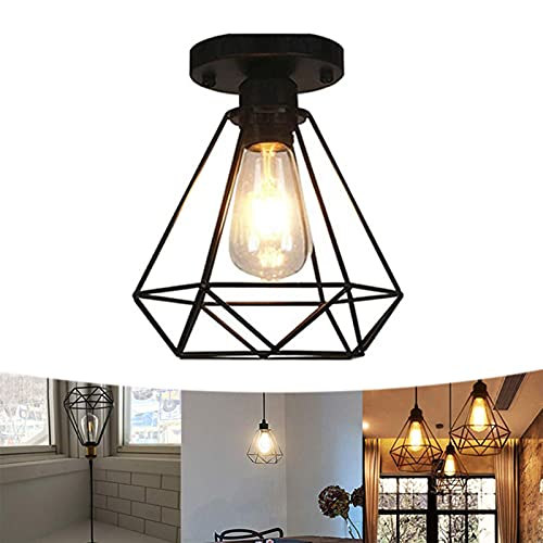 Industriel Suspension Abat-Jour Luminaire Rétro Lustre Plafonnier Vintage Noir Lampe Cage Éclairage de Plafond Abat-jour en Métal pour Restaurant Salon Chambre Cuisine Bar Couloir (sans ampoule)