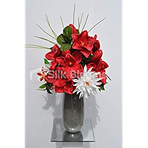 Silk Blooms Ltd Artificial Bright Red Amaryllis and Gloriosa Floral Arrangement w/Foliage and Needle Grass