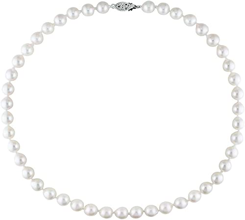 7-7.5mm Baroque White Akoya Saltwater Cultured Pearl Necklace for Women AA+ Quality Sterling Silver Clasp – PremiumPearl