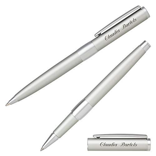 Senator Schreibset IMAGE CHROME silber 6238 Kugelschreiber Tintenroller mit Laser-Gravur und Geschenk-Etui