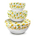 GROBRO7 6Pcs 100% Cotton Bowl Covers Pineapple Fabric Bowl Cover with Elastic Band Stretchy Reusable Durable Washable and Eco Friendly Bowl Covers for Kitchen Picnic Food Storage