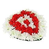 Fenteer Artificielle Toile Fleurs Cœur Couronne Chrysanthème Funérailles Pierre Tombale Cimetière Arrangements pour Memorial Day Accessoire - 2