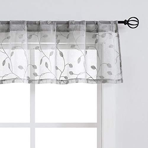 "Fragrantex Sheer Farmhouse Valances Grey for Bay Window 15"" L Embroidered Leaf Light Grey Kitchen Curtains for Bathroom Window Treatment Set Rod Pocket,W56xL15"