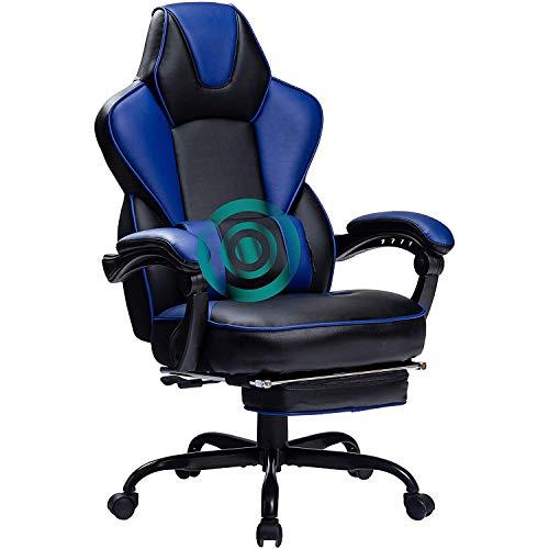 Wolmics Rückenmassage Gaming Stuhl mit Fußstütze,PC Computer Videospiel Racing Stuhl Hohe Rückenlehne Reclining Executive Ergonomic Office Desk Stuhl mit Kopfstütze Lordosenstütze Kissen