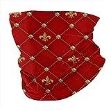 Nobrand Bandana sin costuras, bufanda para la cabeza, diadema, calentador de cuello, polaina, pasamontañas, Vintage Fleur De Lis en un patrón rojo intenso
