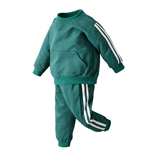 Oyolan Kinder Jogginganzug Trainingsanzug Zweiteiler Sportanzug Freizeitanzug Baumwolle Kinder Kleiudng Set aus Sweatshirt und Sweathose für Mädchen und Jungen 1-8 Jahre Grün 98-104