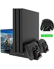 OIVO PS4 pionowy wentylator chłodzący z podstawką do Playstation 4 / PS4 Pro/Slim, PS4 Stojące Zapasy pionowe z ładunkiem sterownika PS4 i 12 Magazyn gier