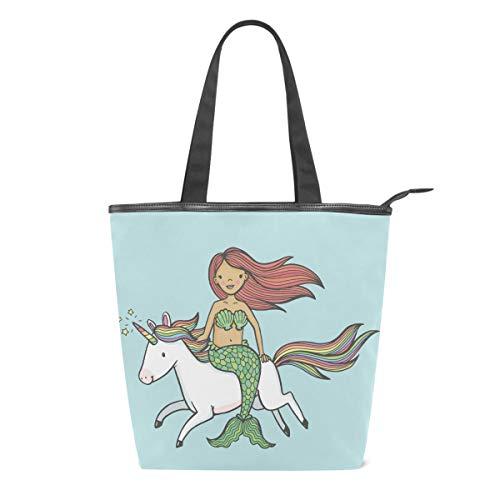 Bolsa de Lona con diseño de Unicornio para Mujer, diseño de Sirena, Color Azul, para Escuela, Libro, para Llevar al Hombro, para IR de Compras, a la Playa, Viajes, al Gimnasio, Uso Diario