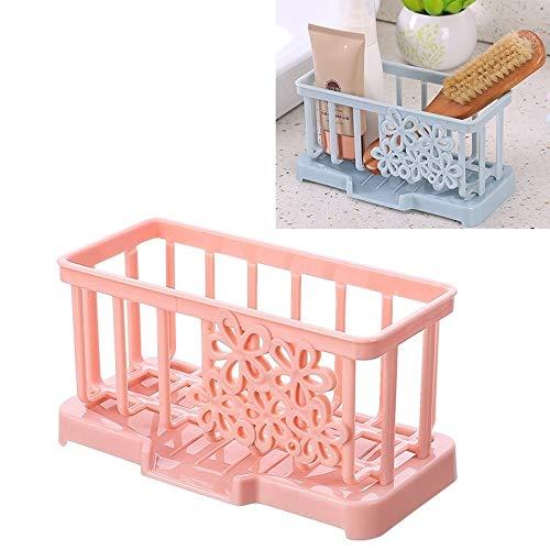 XGQ Material plástico Simple Drenaje del Estante de la Cocina Esponja de Almacenamiento en Rack de Almacenamiento en Rack (Light Beige) (Color : Light Pink)