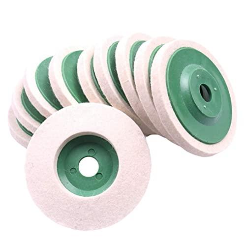 Almohadillas de pulido de rueda de pulido de lana para amoladora angular herramienta rotativa 10 piezas (rueda pulida)