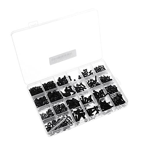 huazhuang-home 1060 unids M2 M3 M4 M5 Hex Socket Socket Secure de acero al carbono Tornillos de cabeza redondos planos Tornillos de cabeza Tornillos y tuercas Kit de surtido con caja de almacenamiento