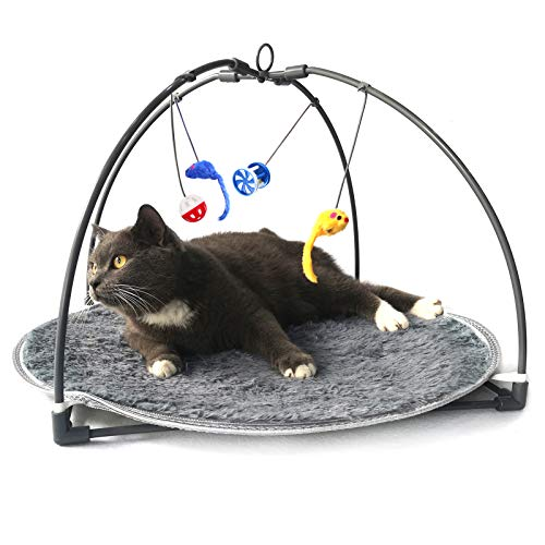 Winsterch Cat Toys Interactive Activity Center Play Mat with Hanging Toy Balls,Cat Kitten Toys