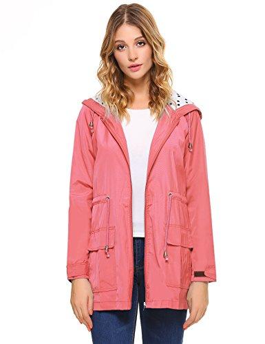 iClosam dames regenjas waterdicht licht met capuchon tas outwear
