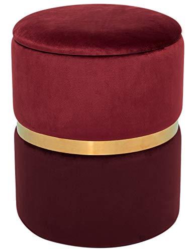 Hocker Samt mit Stauraum Sitzhocker Schminktisch Eleganter Pouf Polsterhocker Gepolsterte Puff Sitzfläche Fußbank Rund Samthocker aus Golden Metall Samtstoff für Wohnzimmer Schlafzimmer Rot
